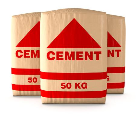 cemento: vista frontal de sacos de cemento en el fondo blanco (3d)