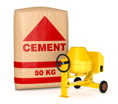 cement mixer with a big bag of cement (3d render) photo