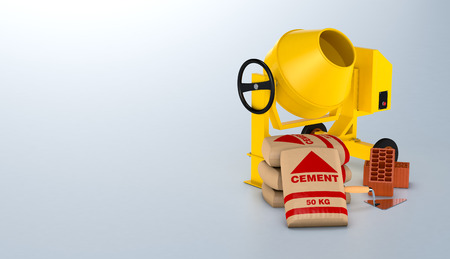 cement mixer: one cement mixer with bags of cement, bricks and a trowel, space for custom text (3d render) Stock Photo