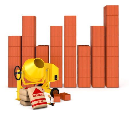 building tools with a financial chart made with bricks, concept of real estate market (3d render)