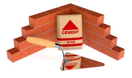 bricklayer: brick wall with a bag of cement and a big trowel, concept of construction site (3d render) Stock Photo