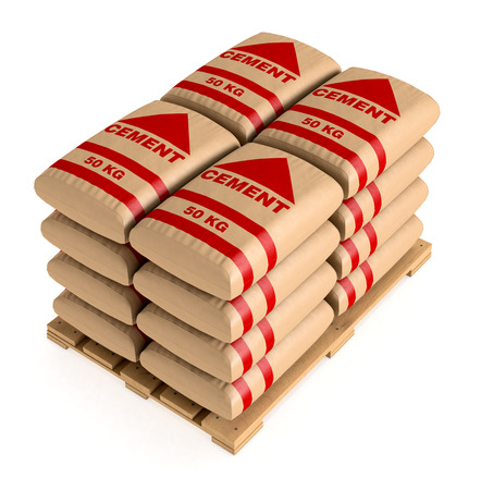 pallet: pallet of bags of cement on white background (3d render)