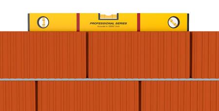 spirit level: close up view of a brick wall and a spirit level (3d render)