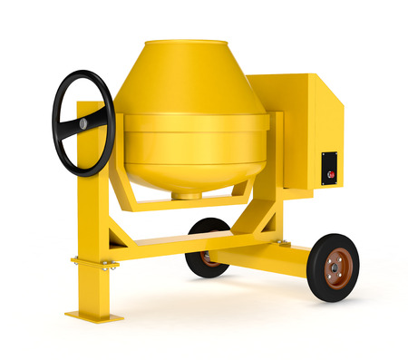 cement mixer: front view of a cement mixer on white background (3d render)