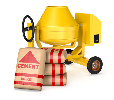 cement mixer with a pile of  bags of cement (3d render) photo