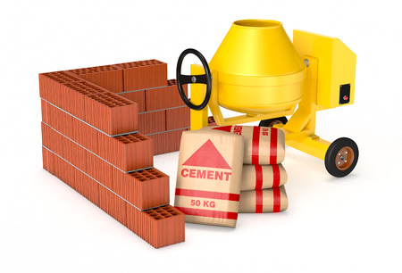 cement mixer: cement mixer with a pile of  bags of cement and a brick wall, concept of construction site (3d render)