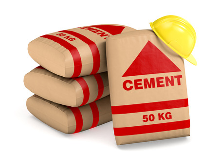 cement pile: bags of cement and a safety helmet on white background (3d render) Stock Photo