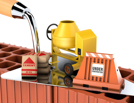 one big trowel with a cement mixer, bags of cement and a barrier, concept of construction site (3d render) photo