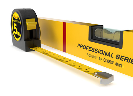 spirit level: close up view of spirit level and a tape measure (3d render) Stock Photo