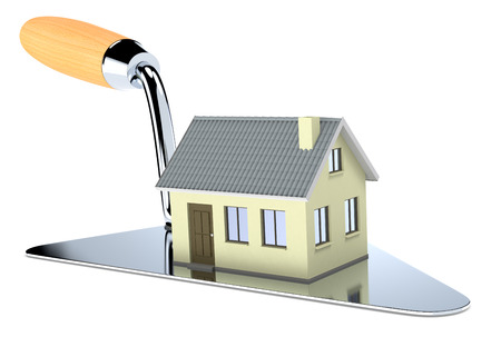 trowel: one big trowel with a house, concept of real estate market (3d render) Stock Photo