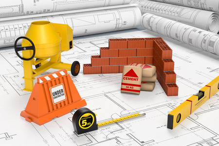 brick work: building blueprints with a cement mixer, bags of cement, a brick wall and other building tools, concept of construction site (3d render)