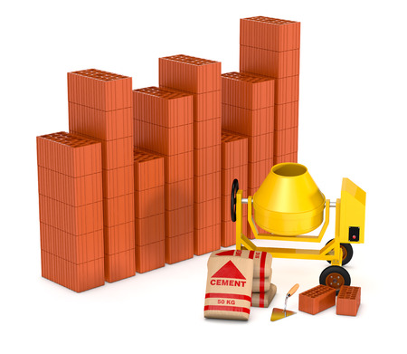 building tools with a financial chart made with bricks, concept of real estate market (3d render) photo