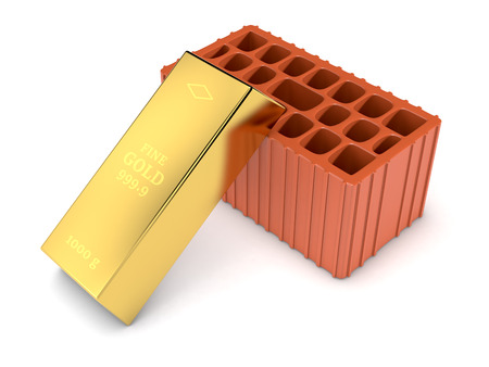 gold bar: one brick with a gold bar, concept of investment (3d render)