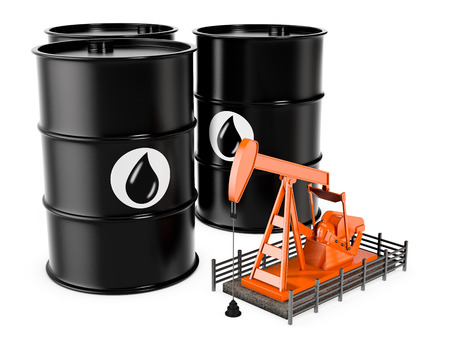 oilwell: three oil barrels with a pumpjack on white background (3d render)