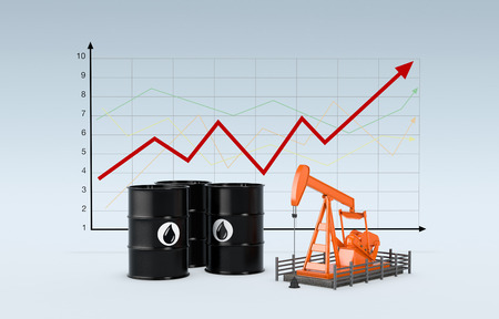 oil barrels and a pumpjack with a chart on background (3d render) photo