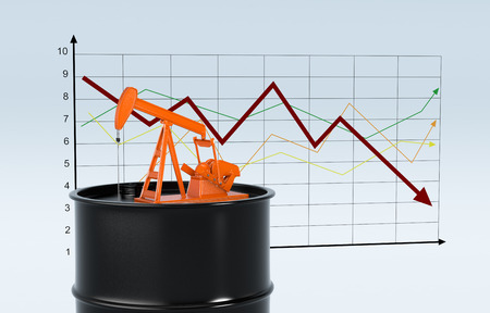 crude: one oil barrel and a pumpjack with a chart on background (3d render)