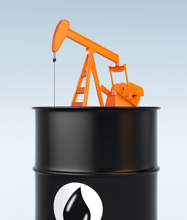 oilwell: one pumpjack on top of a giant oil barrel (3d render)