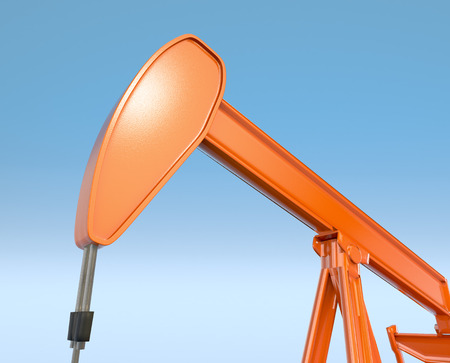 oilwell: closeup view of a pumpjack with sky on background (3d render)