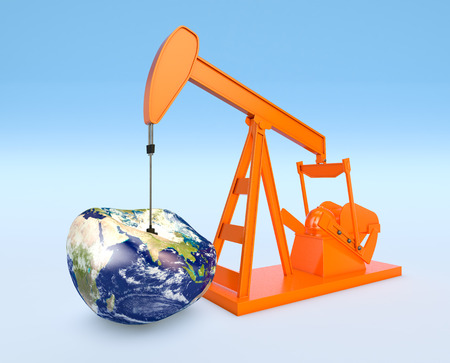 petroleum blue: one pumpjack with a deflated earth globe, concept of shortage of oil resources (3d render) - Elements of this image furnished by NASA