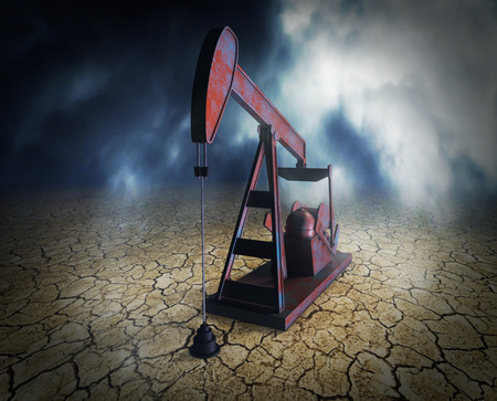arid: one pumpjack on arid ground, concept of shortage of oil resources (3d render)