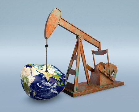 deflated: one pumpjack with a deflated earth globe, concept of shortage of oil resources (3d render) - Elements of this image furnished by NASA