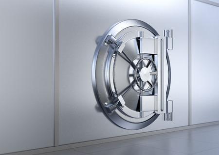 side view of the door of a bank vault (3d render)