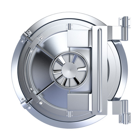 vista frontale della porta di un caveau di una banca su sfondo bianco (rendering 3d)