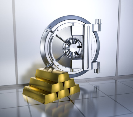 bank vault: bank vault with a stack of gold bars (3d render)