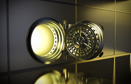bank interior: opened door of bank vault with a yellow light coming from inside (3d render)
