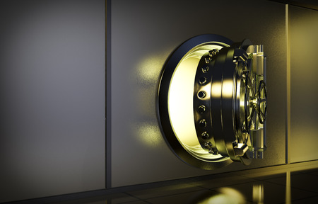 opened door of bank vault with a yellow light coming from inside (3d render)