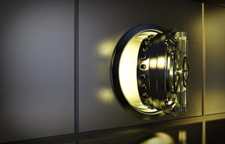 bank vault: opened door of bank vault with a yellow light coming from inside (3d render)