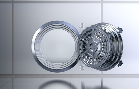 front view of a opened door of a bank vault (3d render)