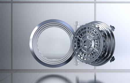 bank vault: front view of a opened door of a bank vault (3d render)