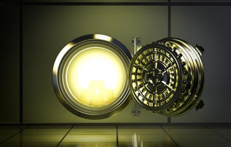 내부에서 나오는 노란 빛으로 은행 금고의 문을 열어 (3d 렌더링)