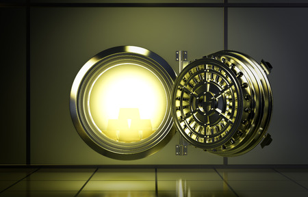 bank vault: opened door of bank vault with a yellow light coming from inside (3d render)