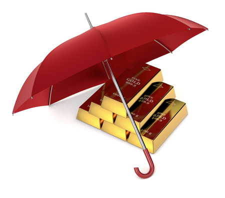 gold bars: one stack of gold bars with an umbrella, concept of protecting your investment (3d render)