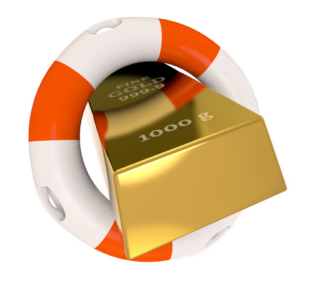 lifebelt: close up view of a gold bar with a lifebelt, concept of protecting your investment (3d render) Stock Photo