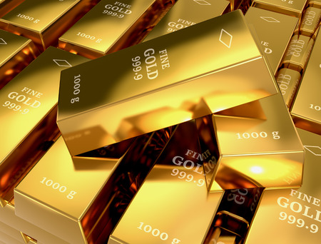 close up view of a stack of gold bars (3d render) photo