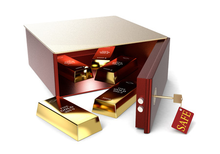 one safe box and some gold bars on white background (3d render) photo