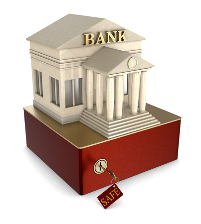 one safe box with a bank building on white background (3d render) photo