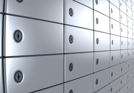 depository: close up view of a stack of safe boxes (3d render)