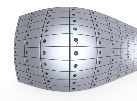 distort: close up view of a stack of safe boxes, fisheye effect (3d render)