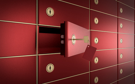 gold keyhole: close up view of a stack of safe boxes, one of them is open (3d render) Stock Photo