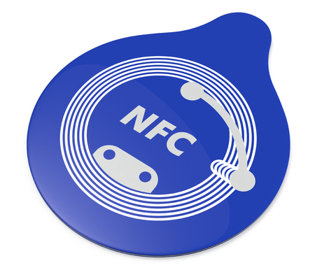 nfc: close up view of a nfc tag on white background (3d render)