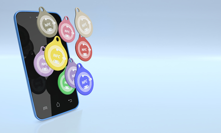 nfc: smartphone with some nfc tags (3d render)