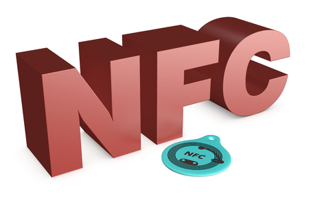 nfc: text: nfc, with a nfc tag on white background (3d render)