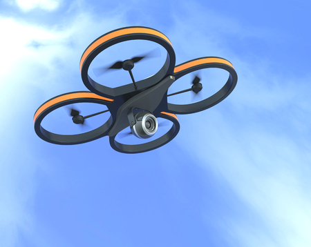 one small drone with a camera with sky on background (3d render)