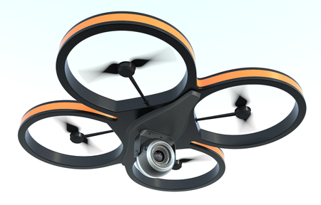 one small drone with a camera, on white background (3d render) photo