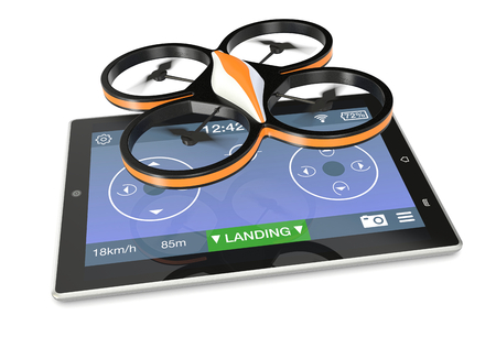 one small drone with a tablet pc and an app for remote control (3d render) photo
