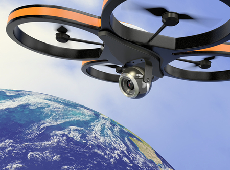 one small drone with a camera, flying over the earth, concept of privacy (3d render) photo